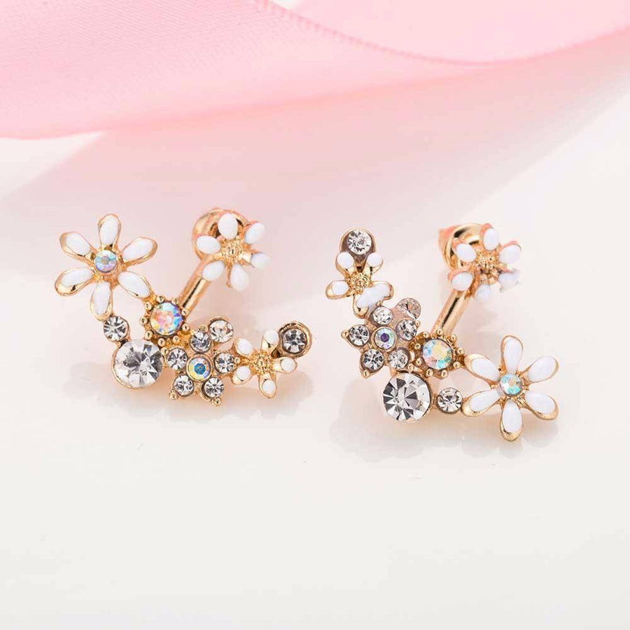 Crystal Garden Flowered Stud Earrings & Jacket In Four Colors
