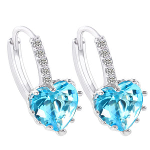 Petite Heart Shaped Aqua Austrian Crystals Hoop Earrings