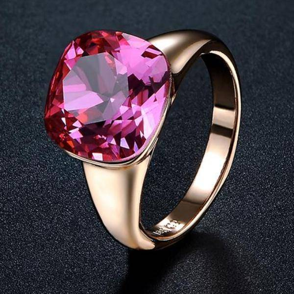 Perfectly Pink Austrian Crystal Cocktail Ring