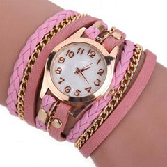 Bright Time Pink Leather Wrap Watch
