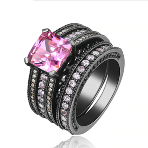 Pink Dusk Princess Cut CZ and Black Gold Engagement Ring Set