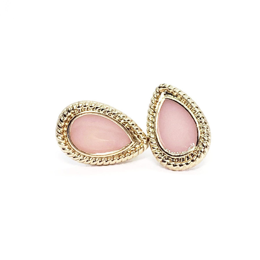 Dusty Pink Pear Button Stud Earrings