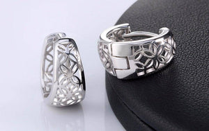 ON SALE - Silver with Platinum Plated Filigree Flower Huggie Earrings