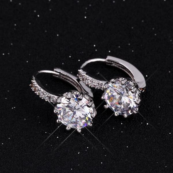 14K Gold Plated Pretty 3.5CTW CZ Diamond Solitaire Hoop Earrings For Woman