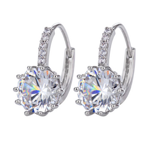 ON SALE - Pretty 3.5CTW CZ Diamond Solitaire Hoop Earrings