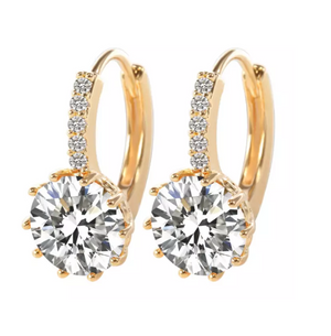 ON SALE - Pretty 3.5CTW CZ Diamond Solitaire Yellow Gold Hoop Earrings