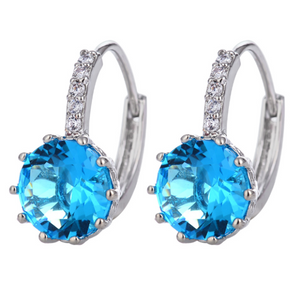 14K Gold Plated Perfect Aqua 3.5CTW CZ Solitaire Hoop Earrings For Woman