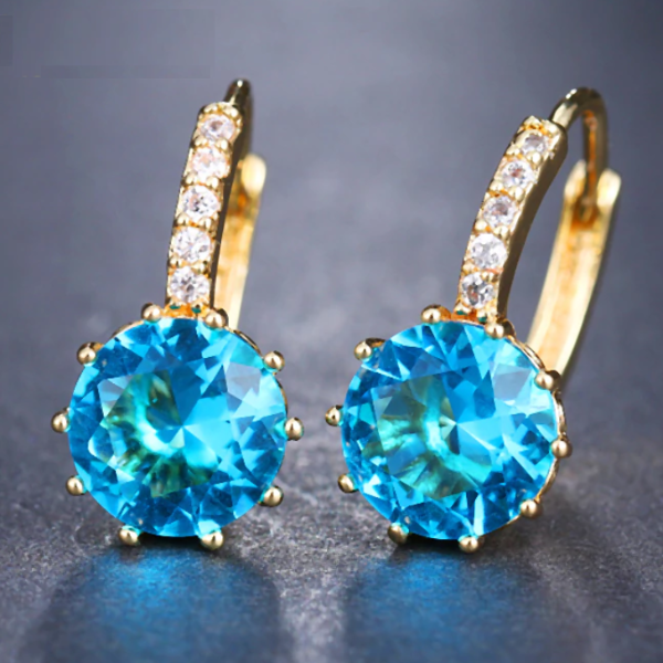 ON SALE - Pretty Aqua 3.5CTW CZ Solitaire Yellow Gold Hoop Earrings