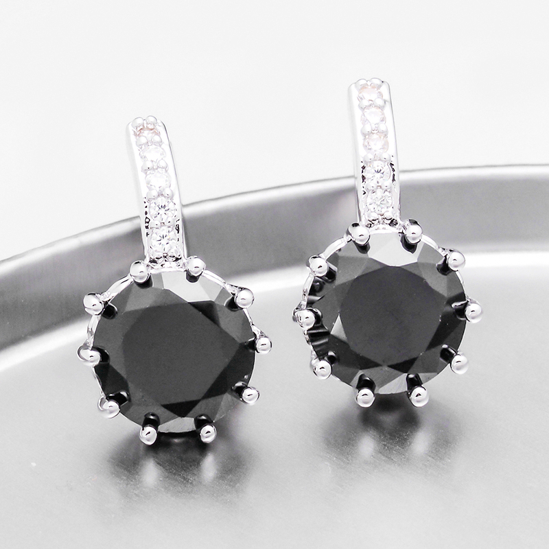 ON SALE - Pretty Black 3.5CTW CZ Solitaire Hoop Earrings