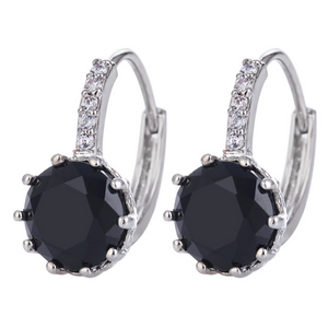 14K Gold Plated Perfect Black 3.5CTW CZ Solitaire Hoop Earrings For Woman