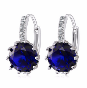 14K Gold Plated Sapphire Blue Color 3.5CTW CZ Solitaire Hoop Earrings For Woman
