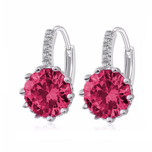 14K Gold Plated Pretty Fuschia 3.5CTW CZ Solitaire Hoop Earrings For woman