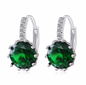 Pretty Green 3.5CTW CZ Solitaire Hoop Earrings