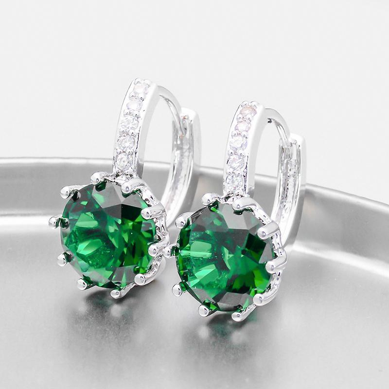 ON SALE - Pretty Green 3.5CTW CZ Solitaire Hoop Earrings