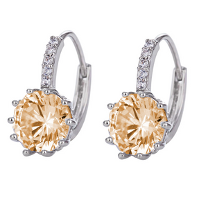 14K Gold Plated Pretty Peach 3.5CTW CZ Solitaire Hoop Earrings For Woman