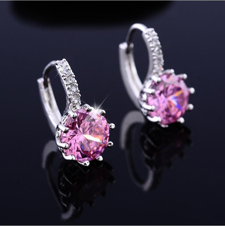 ON SALE - Pretty Pink 3.5CTW CZ Solitaire Hoop Earrings
