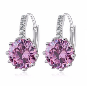 14K Gold Plated Perfect Pink 3.5CTW CZ Solitaire Hoop Earrings For Woman