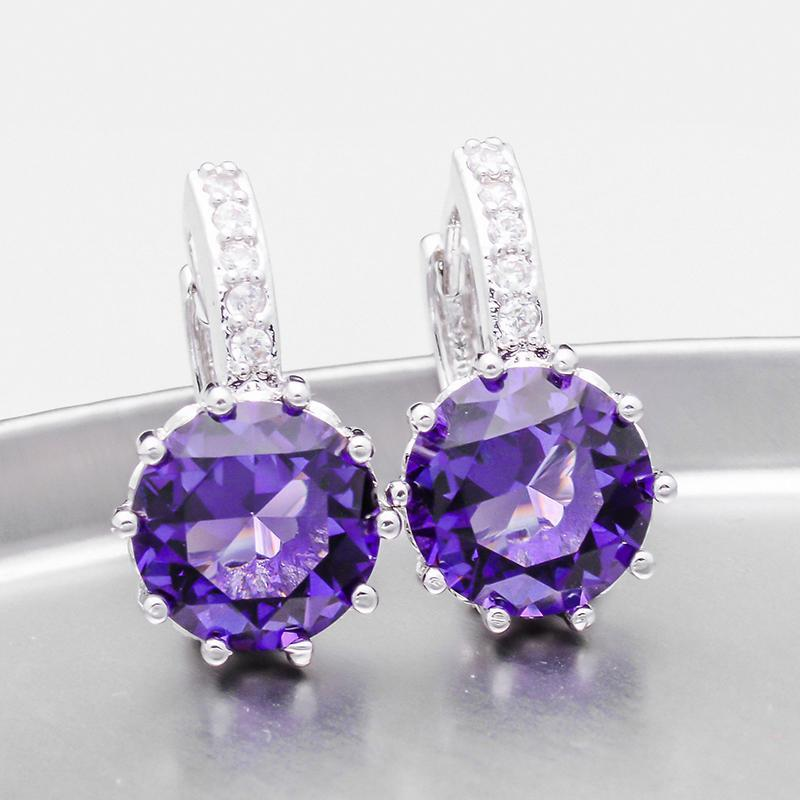 14K Gold Plated Perfect Purple 3.5CTW CZ Solitaire Hoop Earrings For Woman