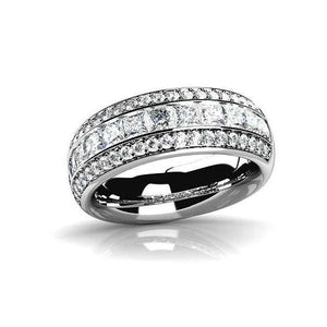 Adalyne 1CTW Channel Set Princess and Pavé Band IOBI Simulated Diamond Ring
