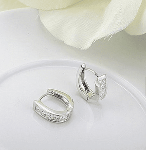 Princess Cut IOBI Crystals Oval Hoop Earrings