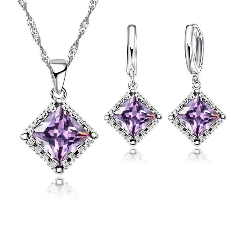 Radiantly Regal Princess Cut Austrian Crystal Necklace & Earrings Set