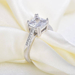 Princess Cut & Petite Pavé CZ Solitaire Ring For Woman
