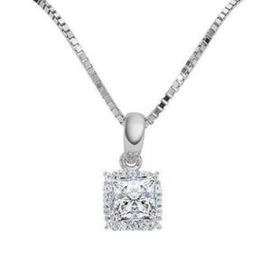 Delphine .5CT Princess Cut Halo IOBI Simulated Diamond Solitaire Pendant