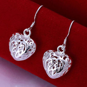 ON SALE - Cut Out Fancy Puffed Heart Necklace and Earrings Set