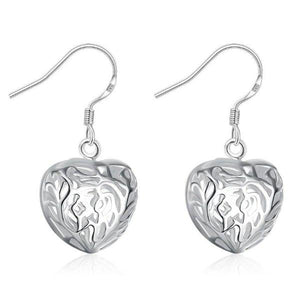 Silver Cut Out Fancy Puffed Heart Earrings For Woman