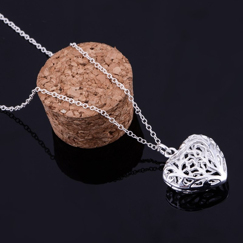 Cut Out Fancy Puffed Heart Necklace and Earrings Set