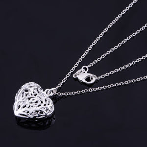 Cut Out Fancy Puffed Heart Silver Necklace For Woman