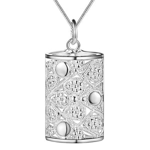 Ornamental Puffed Cylinder Sterling Silver Necklace
