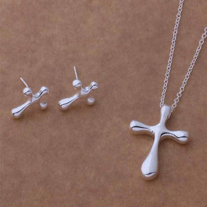 Rounded Cross Silver Necklace & Earrings Set