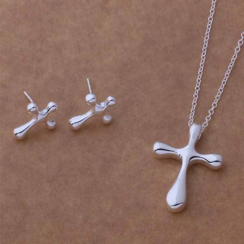 Rounded Cross Sterling Silver Necklace & Earrings Set