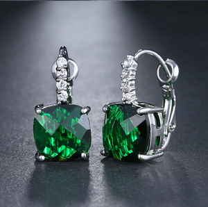 Pure - IOBI Crystals Royal Emerald Drop Earrings