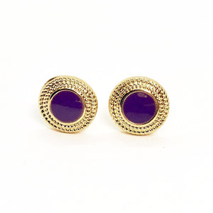 Violet Button Stud Earrings