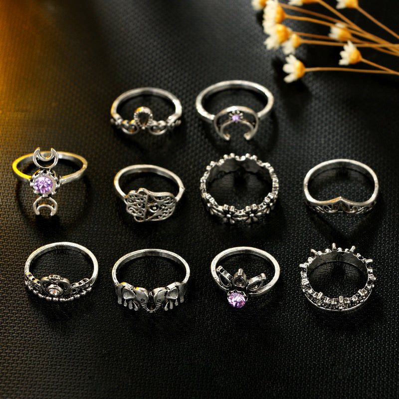 Purple Reign Boho Midi-Knuckle Rings Set of 10