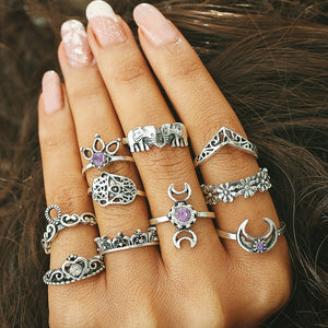 ON SALE - Purple Reign Boho Midi-Knuckle Rings Set of 10
