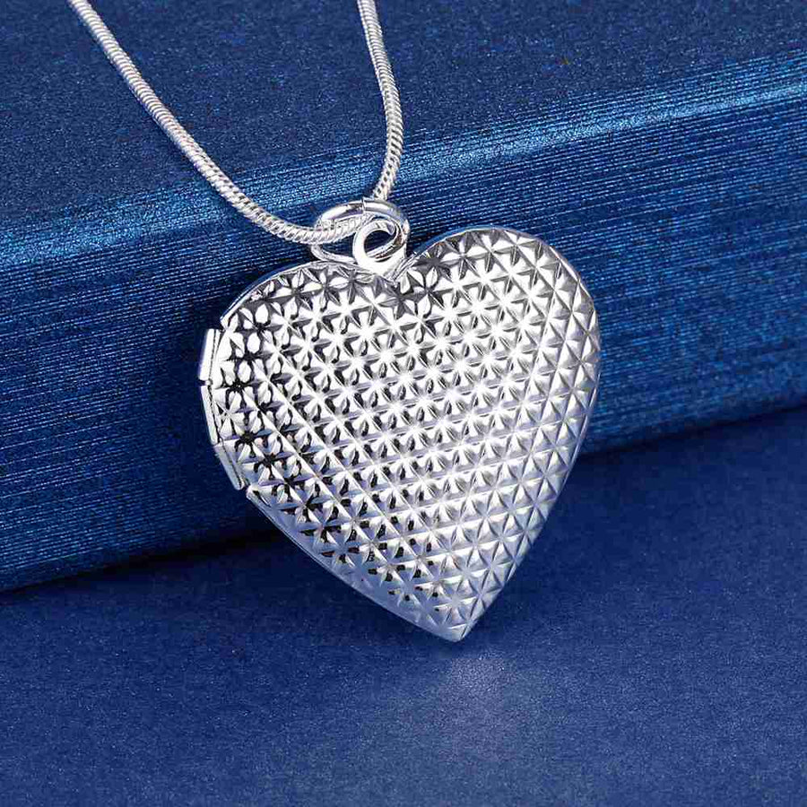 Diamond Plated Sterling Silver Heart Locket Necklace