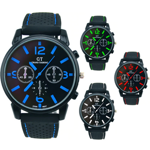 ON SALE - Men's GT Racing Style Wrist Watch in Four Colors