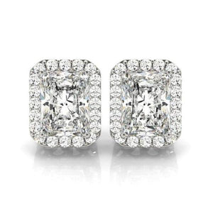 Dominique 3CT Radiant Halo IOBI Simulated Diamond Stud Earrings