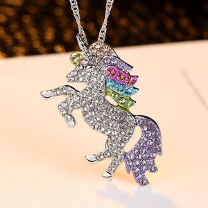 14K White Gold Plated Rainbow Crystal Unicorn Shine Necklace 18 Inch Twisted Chain For Woman