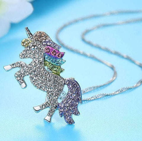 Rainbow Crystal Unicorn Necklace