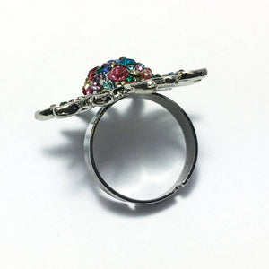 Rainbow Starburst Adjustable Stainless Steel Cocktail Ring