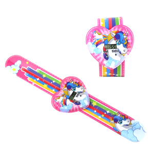 Rainbow Unicorn Girl Power Digital Wrist Watch Slap Bracelet - Kids Watch