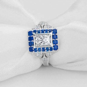 Eliza En Bleu 1CT Emerald Cut Vintage Era IOBI Simulated Diamond Ring