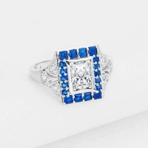 ON SALE - Eliza En Bleu 1CT Emerald Cut Vintage Era IOBI Simulated Diamond Ring