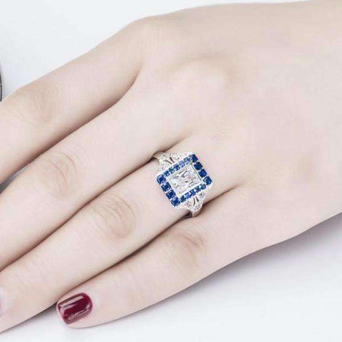 Eliza En Bleu 1CT Emerald Cut Vintage Era IOBI Cultured Diamond Ring