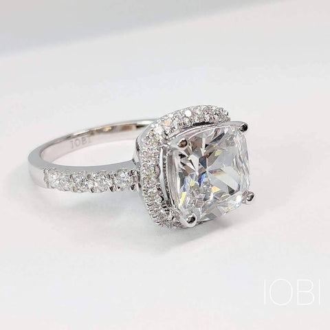 ON SALE - Regina 3CT Cushion Cut Halo IOBI Cultured Diamond Ring