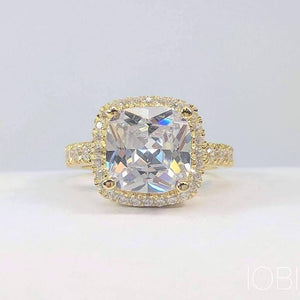 ON SALE - Regina D'ora 3CT Cushion Cut Halo IOBI Simulated Diamond Ring